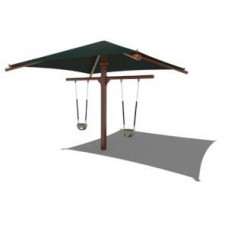 T-Frame Metal Swing - Shade 12x12 foot soft-grip chains bucket seats